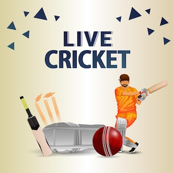 Live cricket championship match with cricketer and players halmet
