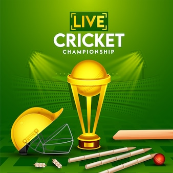 Live cricket championship poster  with realistic red ball, bat, wickets, helmet and golden trophy cup on green stadium view background.