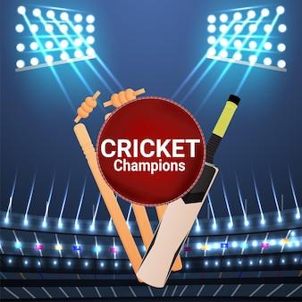 Live cricket championship stadium background with cricket equipment