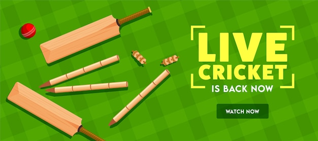 Live cricket is back now text with top view of bat, ball and wicket stumps on green tartan pattern background. header or banner .