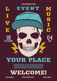 Live eventmusic flyer, music poster background template with trendy skull head. rock n roll background.