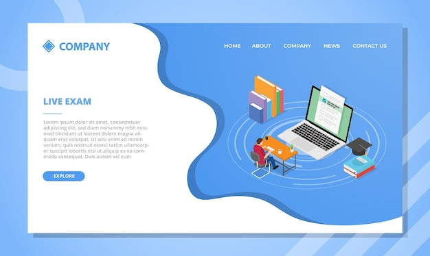 아이소 메트릭 스타일의 웹 사이트 템플릿 또는 방문 홈페이지 디자인을위한 라이브 시험 개념