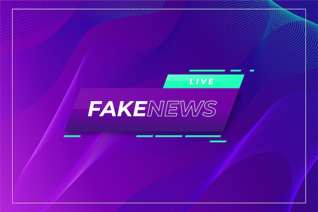 Live fake news on wavy gradient violet background