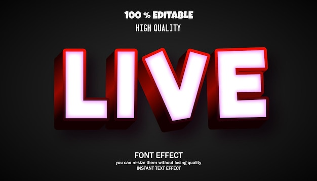 Live font effect for banner or sticker, editable font
