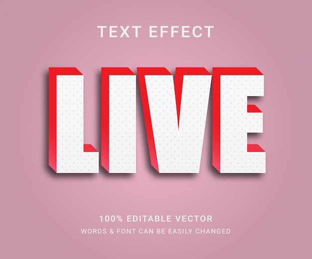 Live full editable text effect