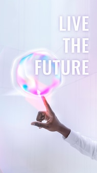 Live the future template vector virtual assistant technology social media story