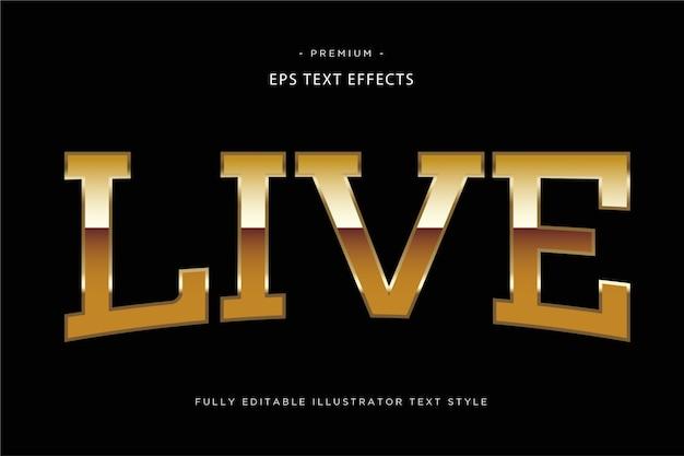 Live golden 3d text effect