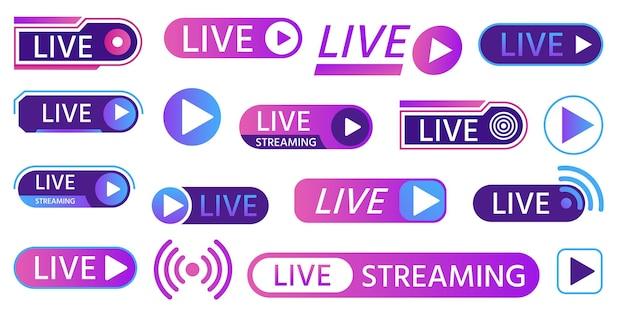 ゲームストリーミング、テレビ放送、番組、ニュース放送用のライブアイコン。ソーシャルメディア、オンライン生活ビデオイベントベクトルセットのボタンとバー。ラジオ、テレビでの仮想デジタル録音
