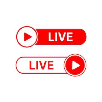 ライブアイコン白い背景の上の赤いライブボタンライブシンボルバッジサインラベルステッカーテンプレート