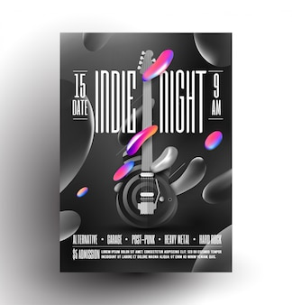 Live indie music night party or concert or rock music festival poster