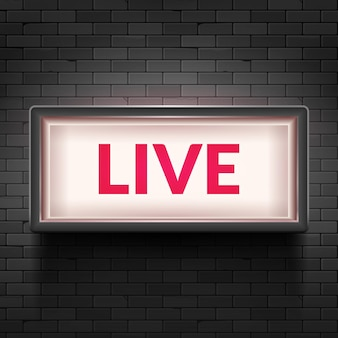 Live light broadcast sign. tv radio studio live red box on air show icon.