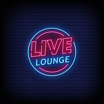 Live lounge neon signboard on brick wall