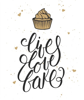 Live, love, bake with hearts and cupcake card