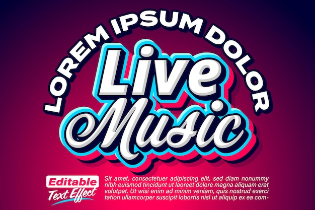 Live music 3d bold stylized text effect