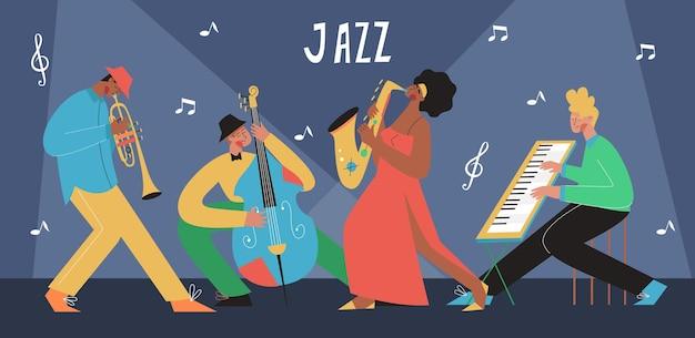 색소폰, 트롬본, 더블 베이스, 피아노로 연주하는 라이브 음악 밴드. 악기를 연주하는 사람들. 어쿠스틱 음악 이벤트 및 재즈 콘서트.