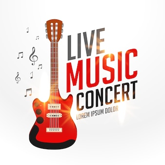 Live music cover template with realistic guitar