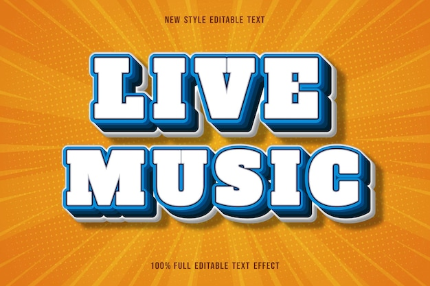 Live music editable text effect color white and blue gradation