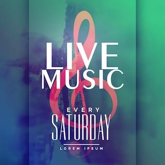 Шаблон дизайна плаката для живой музыки