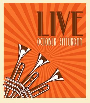 트럼펫과 함께 라이브 음악 축제 레터링 포스터