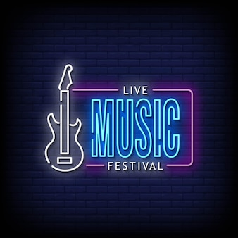 Live music festival neon signboard on brick wall