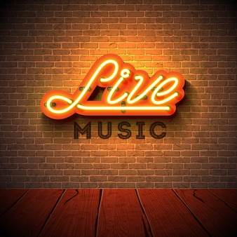 Live music neon sign with 3d signboard letter