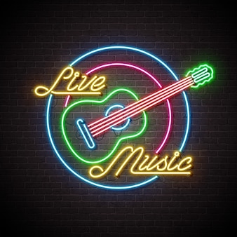 Live music neon sign with guitar and letter