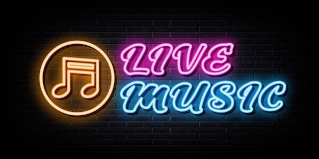 Live music neon signs vector design template neon style