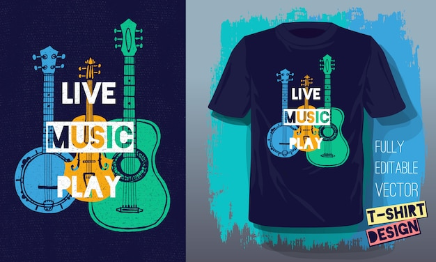 Live music play lettering slogan retro sketch style acoustic guitar