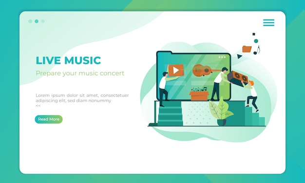 Live music preparation on landing page template