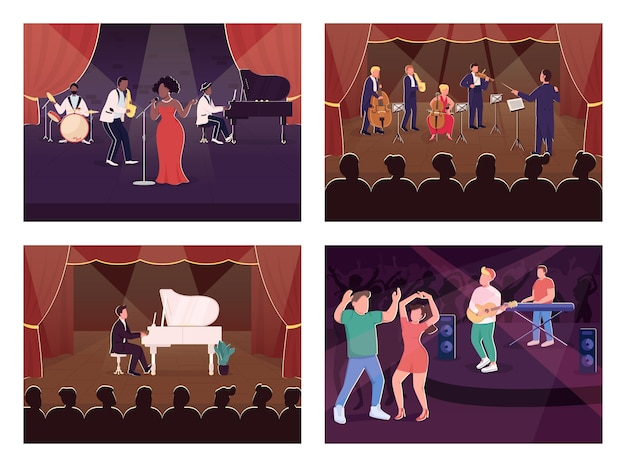 Live music show flat color illustration set. club dancing. orchestra symphony concert. classical musicians and audience 2d cartoon characters with stage on background collection
