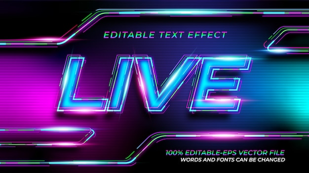 Live neon text effect