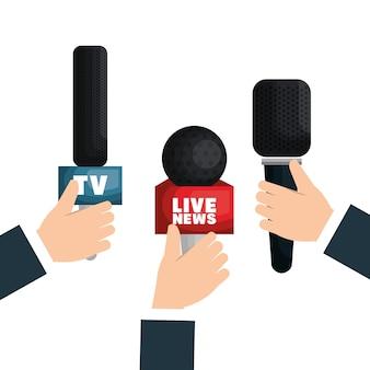 Live news equipment icon vector illustration design