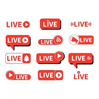 В прямом эфире красная кнопка в эфире на видеоблоге уведомление фон в социальных сетях в эфире