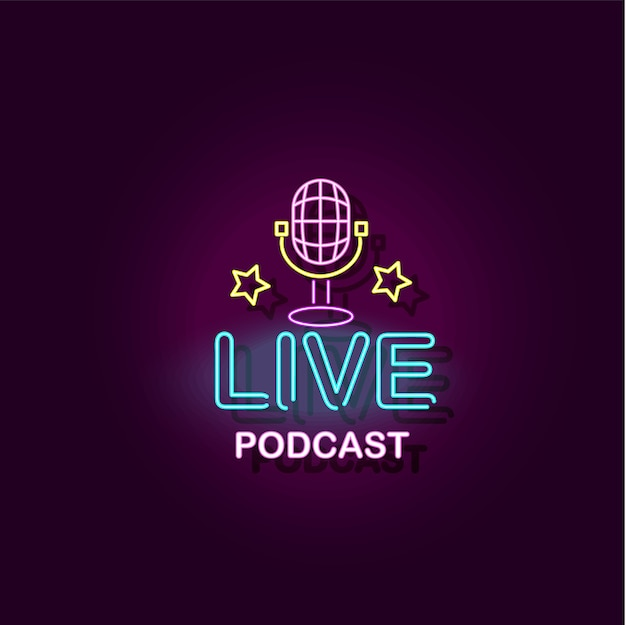 Live podcast banner with microphone illustration with neon effect isolated