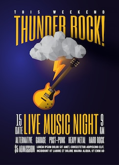 Live rock music party or concert or festival or jam session promo poster
