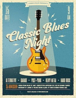 Live rock music party poster or flyer  template with classic electric guitar under the spotlight on the stage.