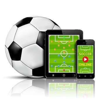 携帯電話とタブレットでオンラインでサッカーをライブ