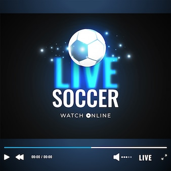 Live soccer video play window with soccer ball illustration