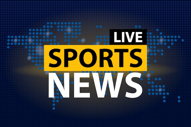 Live sports news headline in blue dotted world map background.