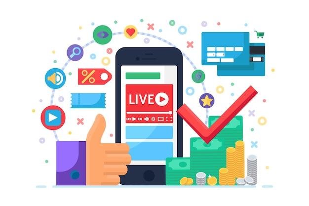 금융 개념 평면 아이콘에 대한 라이브 스트림입니다. 비즈니스 온라인 방송 아이디어 팟캐스트. 스마트폰으로 소득증대를 위한 방송교육. 벡터 격리 평면 그림