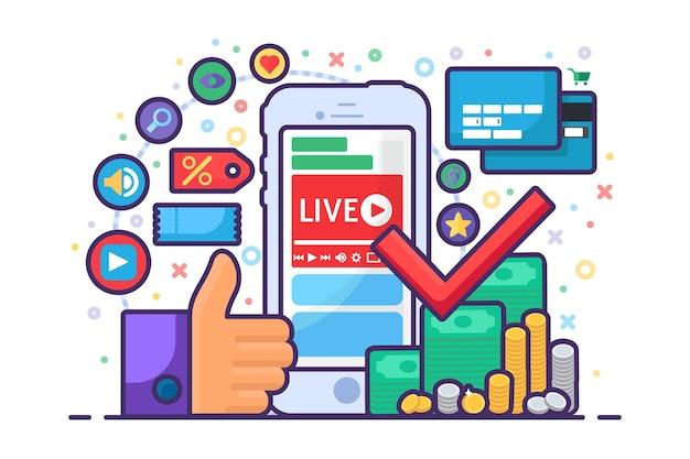 금융 개념 평면 아이콘에 대한 라이브 스트림입니다. 비즈니스 온라인 방송 아이디어 팟캐스트. 스마트폰으로 소득증대를 위한 방송훈련. 벡터 격리 개요 그림