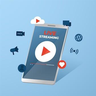 携帯電話のライブストリームアプリ
