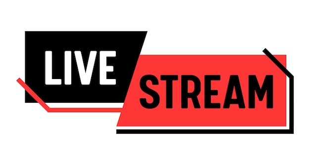 Live stream, banner. video news broadcasting, vlog streaming or tv screen presentation emblem. online channel, live event concept isolated on white background. linear vector label, sticker or icon