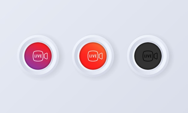 Live stream button in 3d style illustration