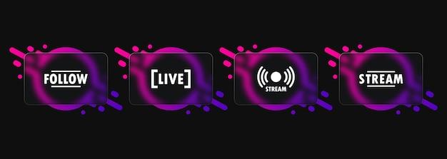 라이브 스트림 버튼 아이콘입니다. 유리모피즘 스타일. 팔로우 버튼. 소셜 미디어 개념입니다. 벡터 eps 10입니다. 흰색 배경에 고립