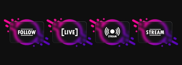 Live stream button icon. glassmorphism style. follow button. social media concept. vector eps 10. isolated on white background