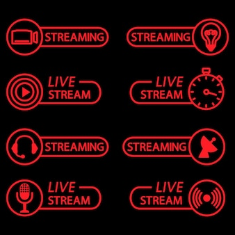 Live stream buttons in outline flat icons for video conference webinar video chats online course