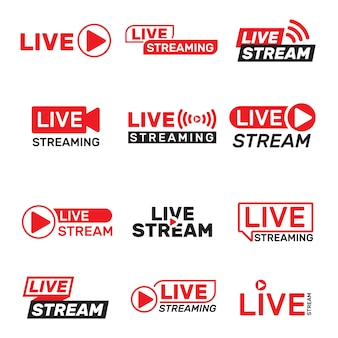 Live stream buttons set