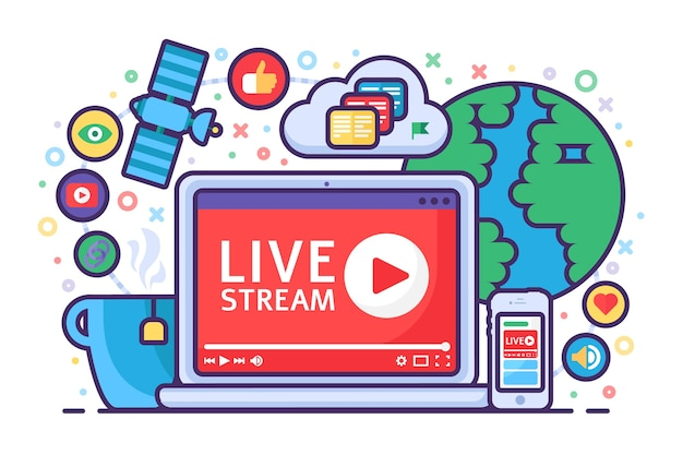 라이브 스트림 개념 아이콘입니다. 온라인 방송 뉴스 아이디어 세미 평면 그림. 버튼 플레이. 현대적인 채널 디자인. 격리 된 컬러 드로잉