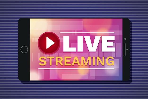 Concetto di streaming live su tablet